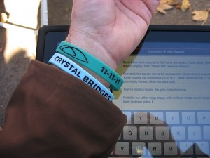 Cool Wrist Bands at Crystal Bridges dedication 11-11-11