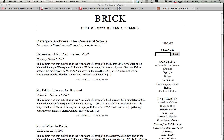 Brick, with the veryplaintext theme
