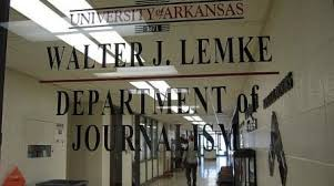 UA Lemke Department of Journalism door