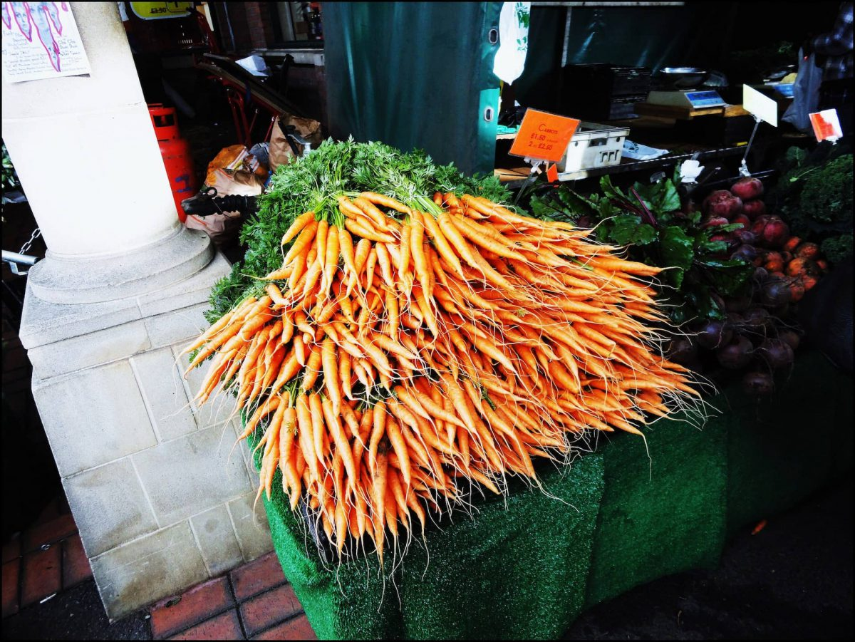 Photo of several bunches of carrots
