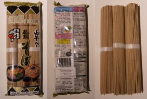 Soba noodles, as packaged