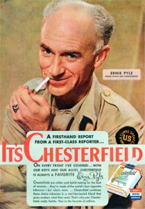 Chesterfield magazine ad featuring revered war correspondent Ernie Pyle