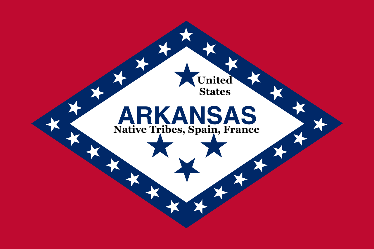 Four blue stars on Arkansas flag defined