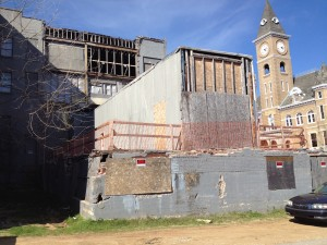 Looking north at the rear of what's left of the Mountain Inn, downtown Fayetteville, Arkansas, March 21, 2016