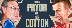 Illustration of Mark Pryor and Tom Cotton by Shafali Anand. Republished with permission of Talk Business & Politcs