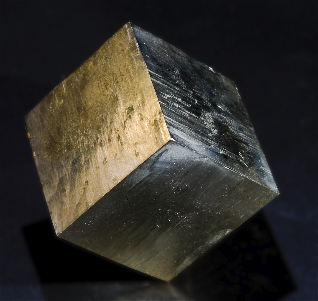 Pyrite cube from Fuente del Moro, Navajún, Spain.