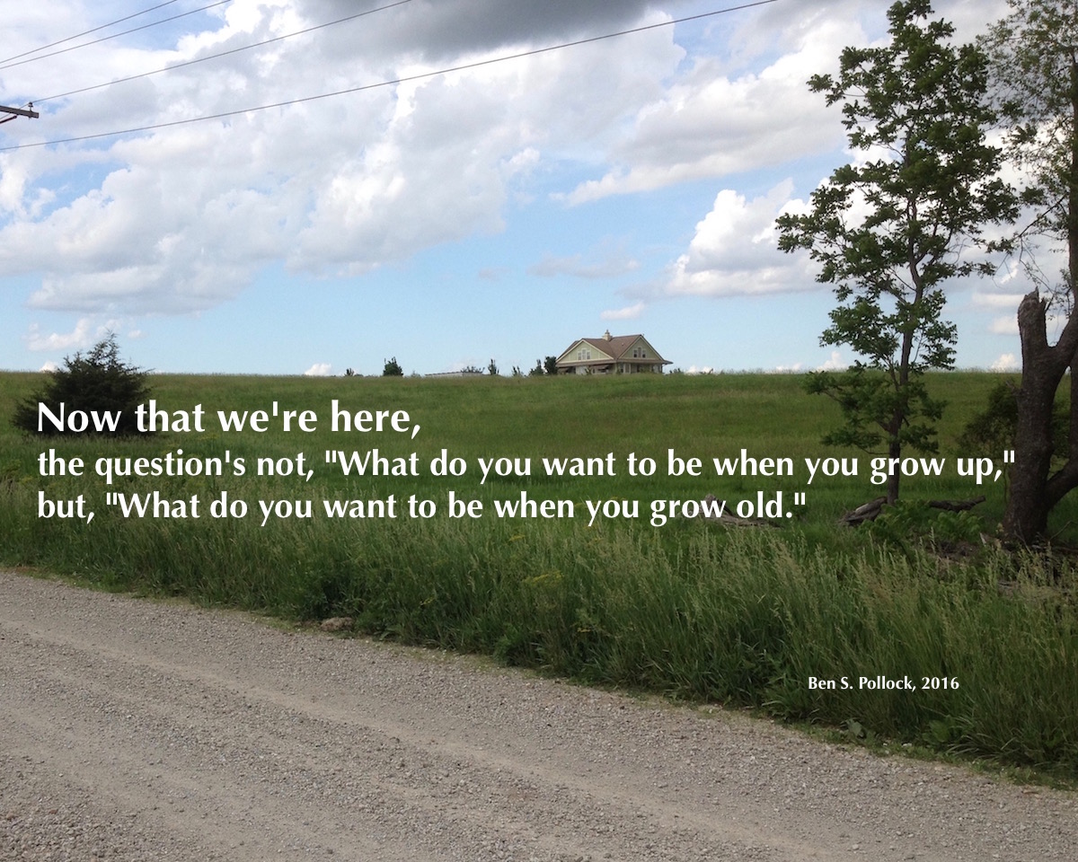"Vastu house, set in field in Maharishi Vedic City, Iowa, with Ben's thought: ""Now that we're here, it's not, ""What do you want to be when you grow up,"" but, ""What do you want to be when you grow old."""