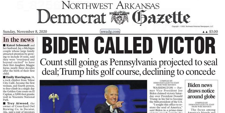 Presidential election result headline in the Nov. 8, 2020, editions of the Arkansas Democrat-Gazette