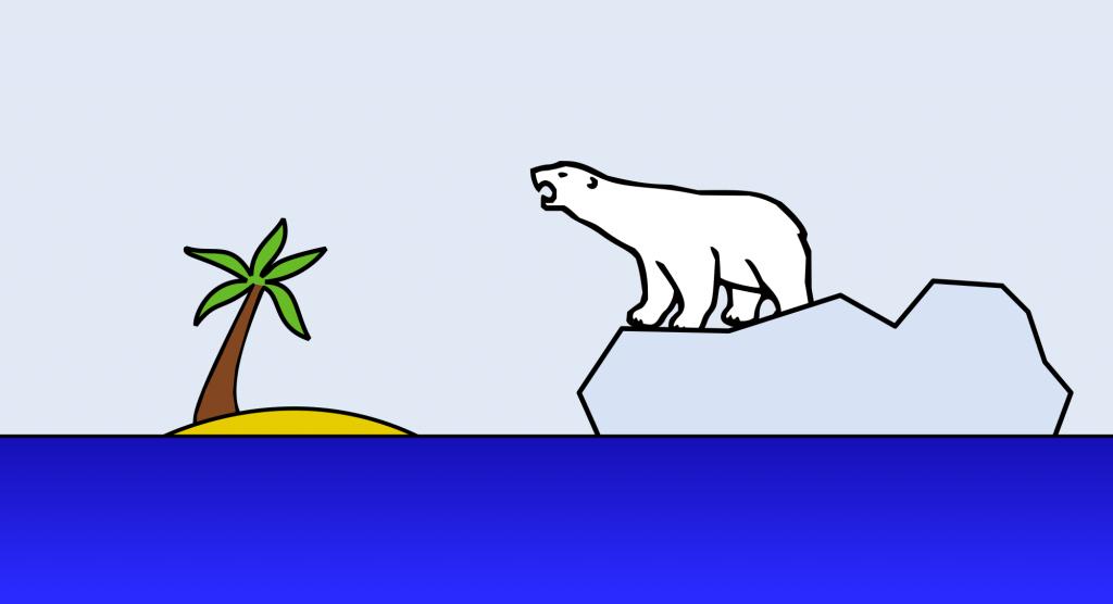 Illustration of polar on iceberg nearing desert island