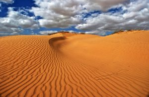 Sand dunes landscape with sky and clouds in Israel