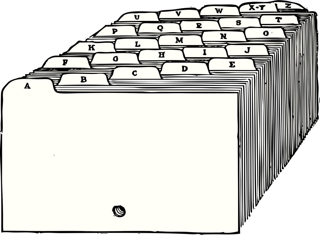 """Illustration of alphabetized dividers for index cards, from from """"A Textbook of Filing"""" by James N. McCord, 1920"""