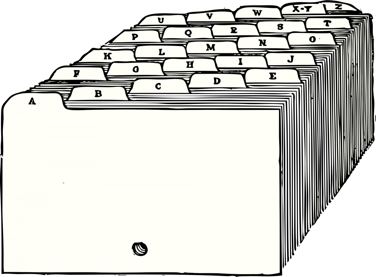 "Illustration of alphabetized dividers for index cards, from from ""A Textbook of Filing"" by James N. McCord, 1920"