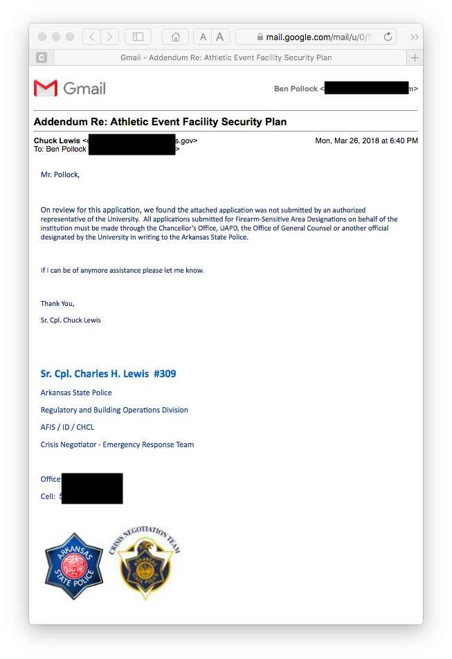 Email from ASP Cpl. Lewis, 26 March 2018