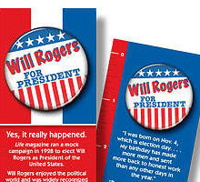 Bookmarks showing Will Rogers for President buttons